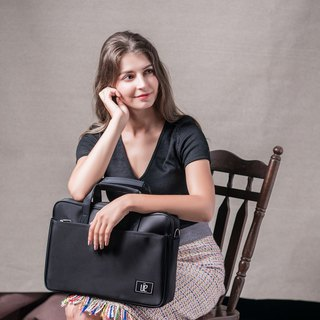 Simple black - zipper water repellent men and women briefcase