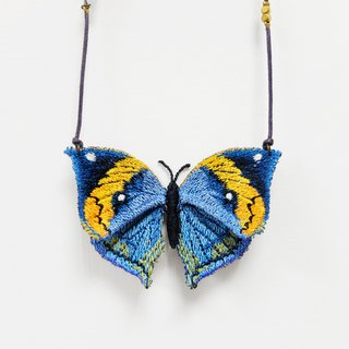 Embroidery Butterfly Necklace / Dead Leaf Butterfly