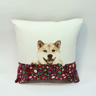 Embroidery small pillow 10- Shiba