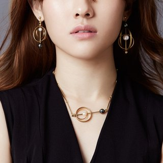 Ocean Planet Pearl Double Ring Asymmetric Earrings