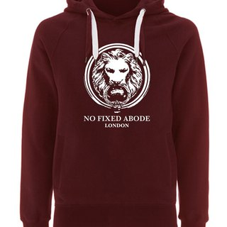 NO FIXED ABODE Hoodie Lion Front - Red Unisex