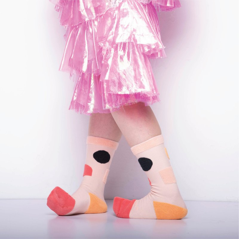 內在美系列 - 寧 粉桃紅 雙面中筒襪 Reversible Socks