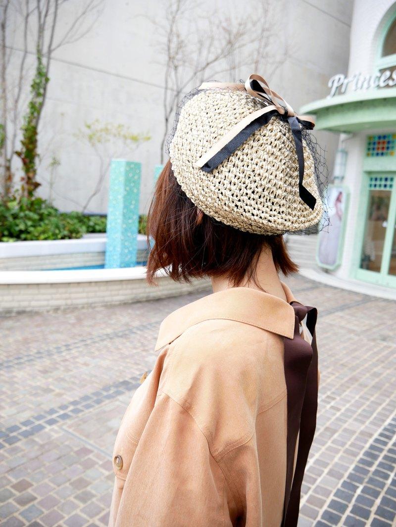 MIT 網紗蝴蝶結造型草帽 (R7728F)