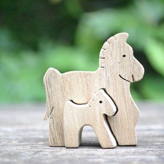 Work hard to keep pace with mother pony ★ handmade wood