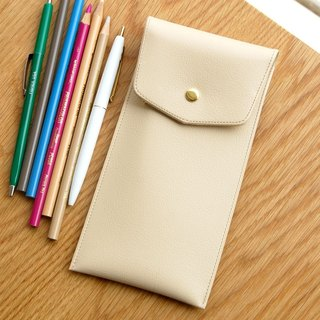 PLEPIC - Treasure Imitation Leather Buckle Pencil Case - Cream Beige, PPC93525