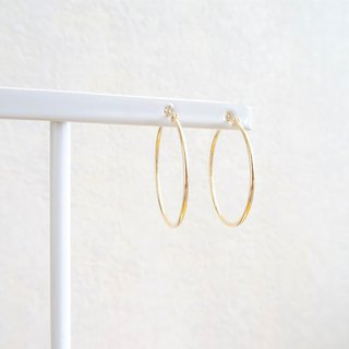 K18 Skin Jewelry - 18K Solid Yellow Gold  Delicate Tubular Hoop Earrings - 25mm
