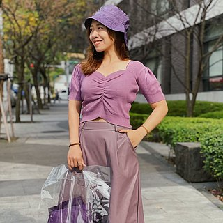 [] MORR Fisherman rain or shine dual-use housing cap [flowers] purple yarn