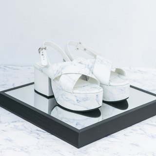Marble platform shoes - White marble