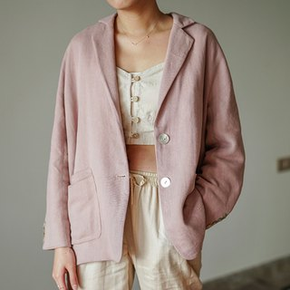 Hematemesis recommended pink | Like a dream French loose elegant cotton and linen suit embroidery theme lazy wind shoulder nine sleeve casual jacket neutral men and women couple jacquard texture sense of linen cotton material two colors optional | Fanta to