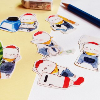 Bear stationery stickers / waterproof