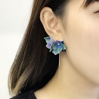 Hand-dyed Blue & Green Leather Hydrangea Earrings