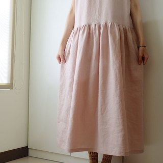 Daily hand-made clothes vintage pink wide dress linen