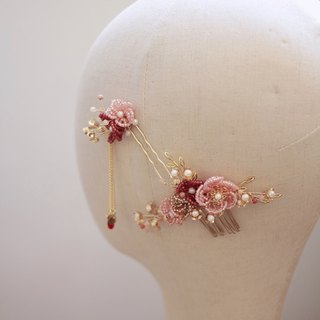 Bridal Headpiece Ornate Bridal Chinese Headdress - Beaded Flower (2 pieces)