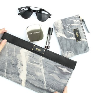 HARD RAYS Grey Sleek Clutch