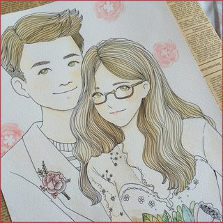 ◆ SS. Yan Feng Huaqiu ◆ A3 size double (hook line style) watercolor hand-painted photo cartoon wedding portrait painting