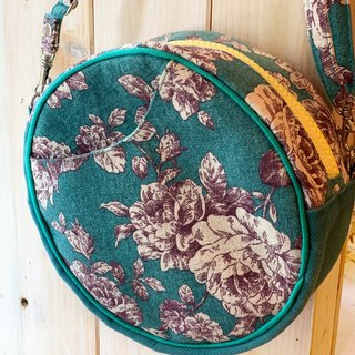 [Good day hand made] Handmade. Small round bag of roses. crossbody bag. Side backpack