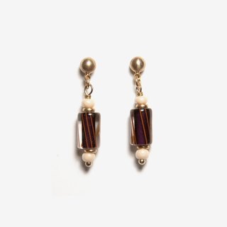 Vintage Barber Pole Earrings - Purple