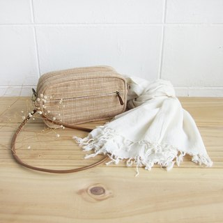 Goody Bag / Cross-body Little Tan Width Bags  with Thai Saloo Cotton Scarf.