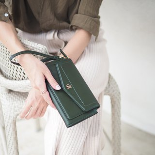 AVA (Green) : long wallet, green wallet , cow leather wallet