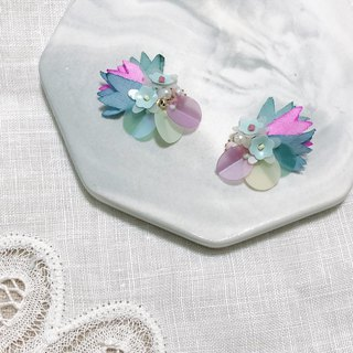 Shirly Sky exclusive order colorful kaleidoscope hand made flower limited edition ear pin / ear clip