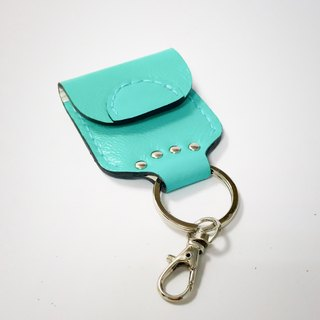 Water blue lambskin purse key ring