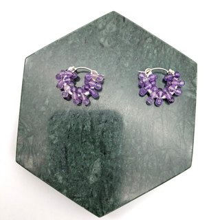 Violet Crystals 925 Silver Earrings 【Natural Stones】 【Purple Earrings】 【Gift】