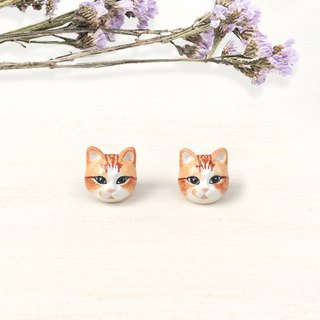 Orange Cat Earrings, Cat Stud Earrings, cat lover gifts