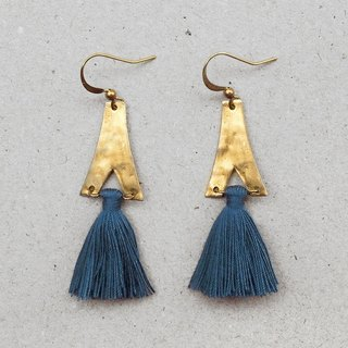 Blue Tassel Chandelier Brass Earrings - 14K Gold Filled Hooks / Clip-Ons