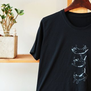 T shirt black color moving with cat cotton hand print with gray color