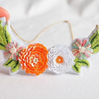Cute Tangerine Dream Sequin and Embroidery Flower Bib Necklace