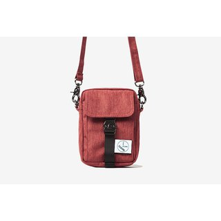 Simple texture small diagonal bag:: wine red::