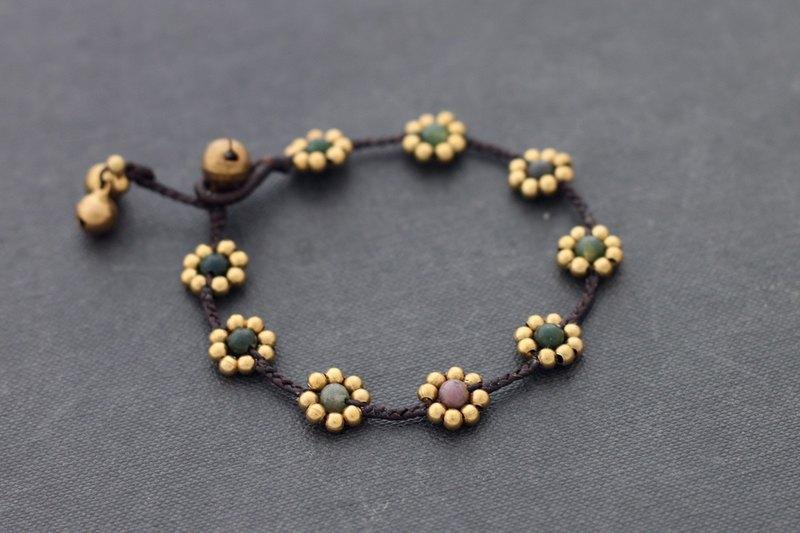 立方體黃銅珠灰色編織手鍊簡單基本男女皆宜的黃銅串珠手鍊
