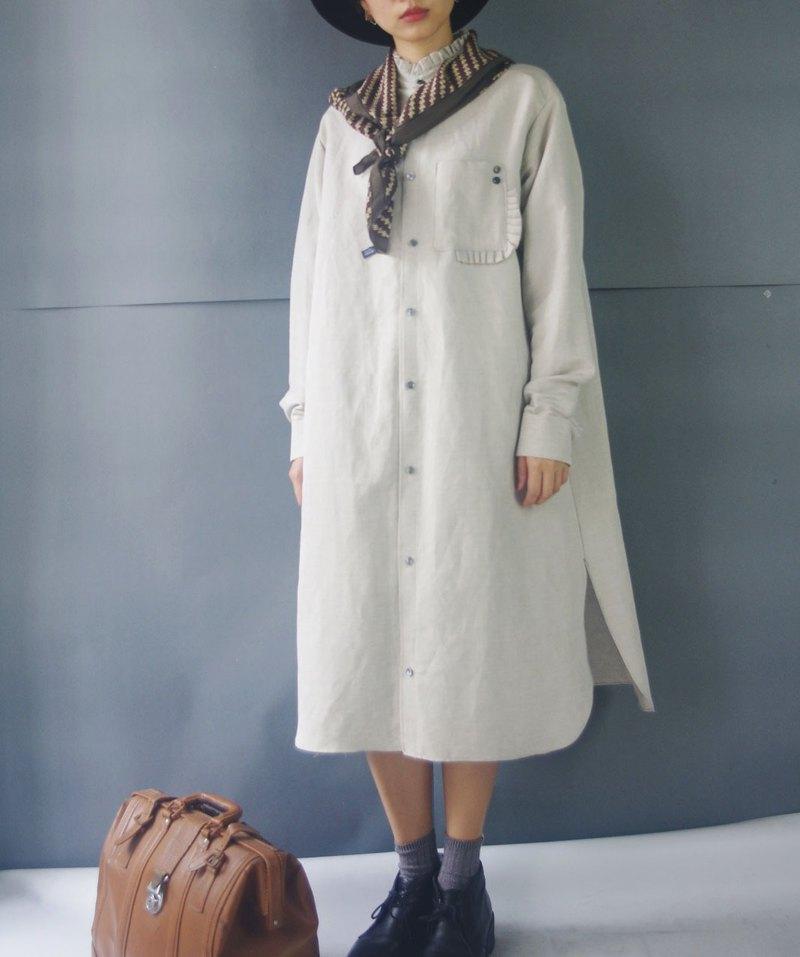 e6c65d72255 Handmade - warm gray lotus leaf collar cotton and linen long version  Wenqing shirt dress - Designer 4.5studio