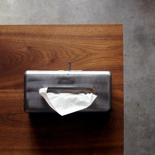 PLAIN TISSUE BOX Natural Vintage Industrial Steel Tissue Box - Industrial Silver