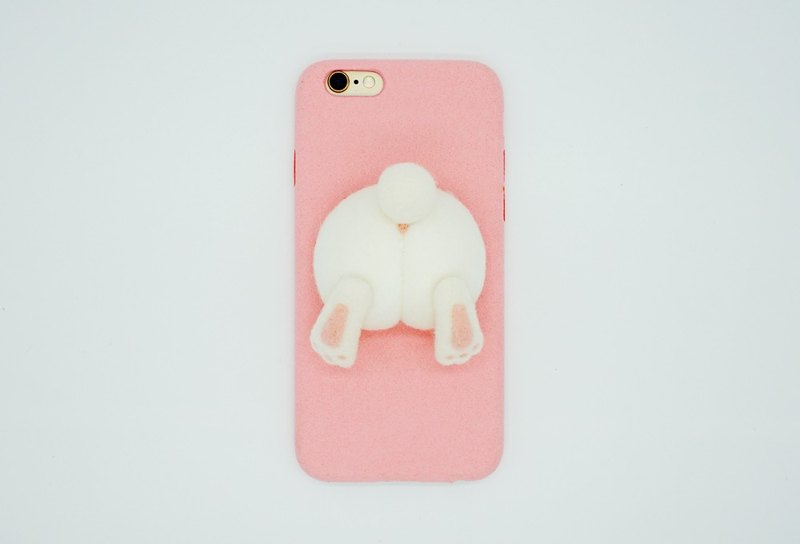 MoonMade Needle Felting Bunny's Butt Phone Case, Wool Felt Rabbit's Ass Phone Cover, 3D Animal's Phone Shell Birthday Valentines Gift for Iphone X 6 7 8 Plus Samsung LG