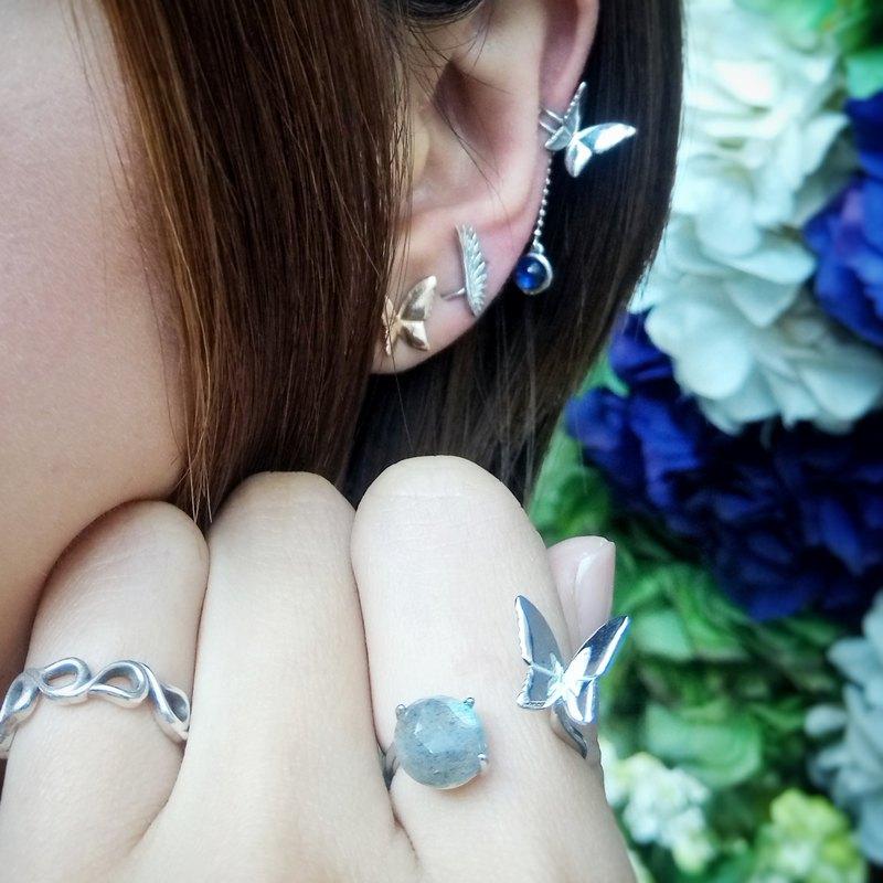 拉長石蝴蝶純銀戒指