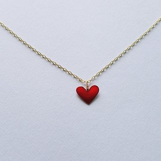 mini heart pendant&necklace <red>