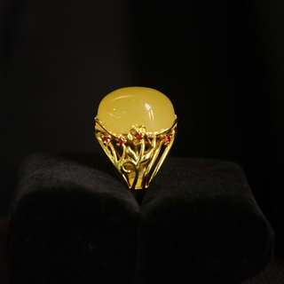 [Amber Natural Amber Ring] Natural Amber Ring 925 Silver Crossover Adjustable Atmosphere Ring