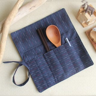 Valentine New Year] weimoms dark blue first dyed - pencil case, chopsticks set, green tableware bag, cloth roll made in Taiwan - hand made good
