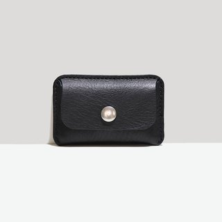 LUCE hand-sewn / vegetable tanned leather ID card holder - Black