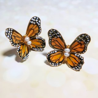 Miss Paranoid Paranoia Miss Dance Monarch Butterfly Resin Earrings 925 Silver Needle