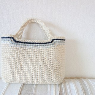 White jute bag / blue line / yuoworks