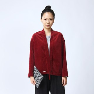 BUFU red corduroy jacket with handmade embroidery O160710