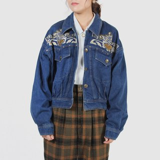 [Egg plant ancient] Barcelone embroidery vintage denim jacket