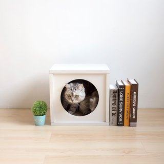 [Ange home] clever cat house | peekaboo cat cabinet (fresh white)