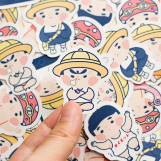 Chubby boy sticker , 10pcs , matte coating , sticker set