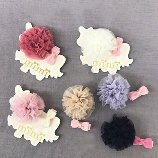 Japan MiMi baby girl child macaron mesh safety hair clip 2 piece group made in Japan