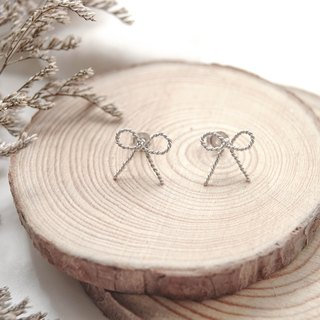 925 Sterling Silver Hand Earrings · Bowknot · Knitting Series ·