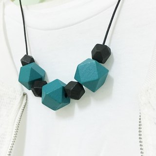 Black Blue wooden bead necklace Black & Blue Wood Beads Necklace (N1606)
