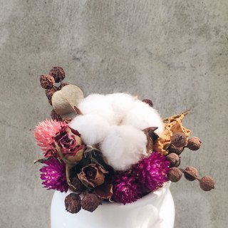 Dried bouquet of white ceramic milk jug cotton spot